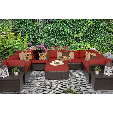 TK Classics Belle 12 Piece Sectional Seating Group w/ Cushion; Terracotta