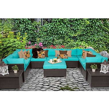 TK Classics Belle 12 Piece Sectional Seating Group w/ Cushion; Aruba