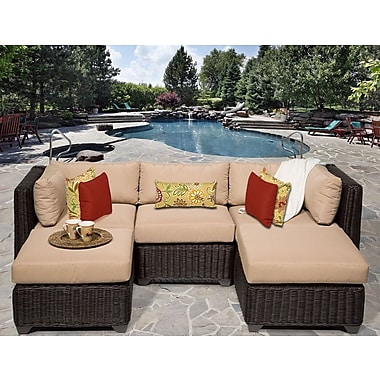 TK Classics Venice 5 Piece Sectional Seating Group w/ Cushion; Wheat