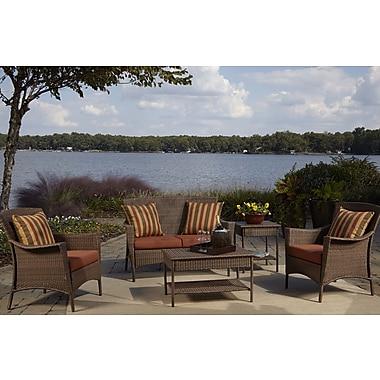 Panama Jack Key Biscayne 5 Piece Deep Sunbrella Seating Group w/ Cushions; Spectrum Almond