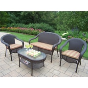 Oakland Living Elite 4 Piece Deep Seating Group Set; Striped