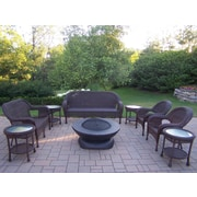 Oakland Living Resin Wicker 9 Piece Fire Pit Seating Group Set; Coffee
