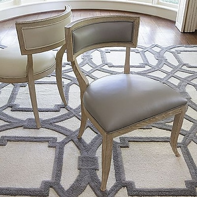 Global Views Klismos Genuine Leather Upholstered Dining Chair; Grey Leather
