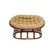 International Caravan Rattan Double Papasan Chair w/ Micro Suede Cushion; Java