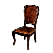 MOTI Furniture True Genuine Leather Upholstered Dining Chair; Dark Arra