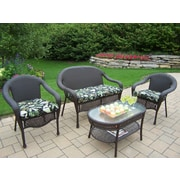 Oakland Living Elite 4 Piece Deep Seating Group Set; Floral