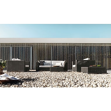 Hospitality Rattan Soho 6 Piece Sectional Deep Seating Group w/ Cushion; Linen Champagne