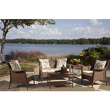 Panama Jack Key Biscayne 5 Piece Deep Sunbrella Seating Group w/ Cushions; Canvas Natural