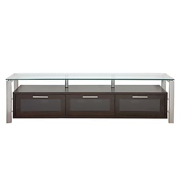 Plateau Decor Series 71'' TV Stand; Black Oak and Silver with Black Glass