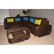 Wicked Wicker Riviera Large 5 Piece Sectional Seating Group w/ Cushions; Chocolate Brown