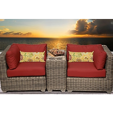 TK Classics Cape Cod 3 Piece Deep Seating Group w/ Cushion; Terracotta