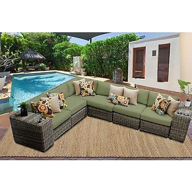 TK Classics Cape Cod 8 Piece Sectional Seating Group w/ Cushion; Cilantro