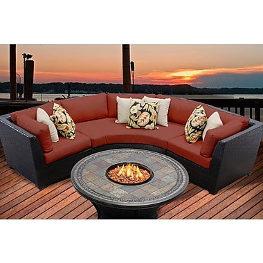 TK Classics Barbados 4 Piece Fire Pit Seating Group w/ Cushion; Terracotta