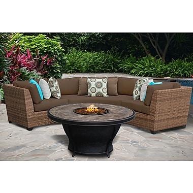 TK Classics Laguna 4 Piece Fire Pit Seating Group w/ Cushion; Cocoa