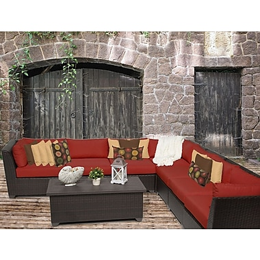 TK Classics Barbados 8 Piece Sectional Seating Group w/ Cushion; Terracotta