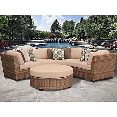 TK Classics Laguna 4 Piece Sectional Seating Group w/ Cushion; Wheat