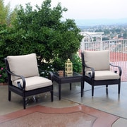 Meadow Decor Roma Club 3 Piece Deep Seating Group w/ Sunbrella Cushions; B Grade
