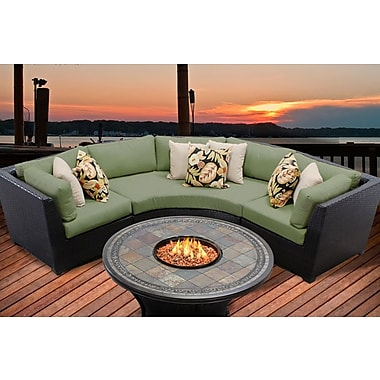 TK Classics Barbados 4 Piece Fire Pit Seating Group w/ Cushion; Cilantro