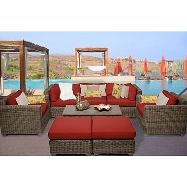 TK Classics Cape Cod 8 Piece Deep Seating Group w/ Cushion; Terracotta