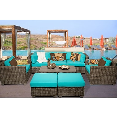 TK Classics Cape Cod 8 Piece Sofa Set w/ Cushions; Aruba