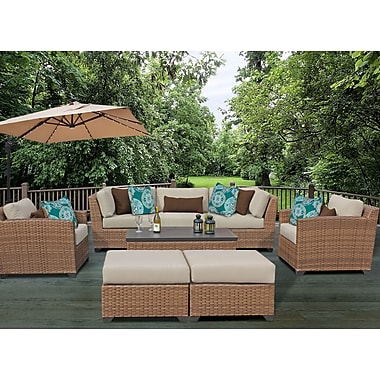 TK Classics Laguna 8 Piece Rattan Conversation Set w/ Cushion; Beige
