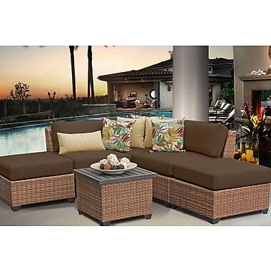 TK Classics Laguna 6 Piece Sectional Seating Group w/ Cushion; Cocoa