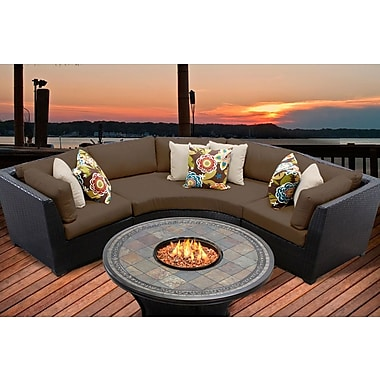 TK Classics Barbados 4 Piece Fire Pit Seating Group w/ Cushion; Cocoa