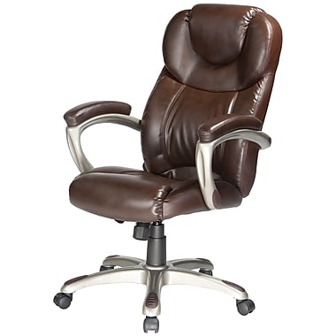 Comfort Products Granton Leather Executive Office Chair, Fixed Arms, Brown (60-5821)