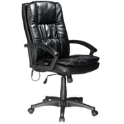 Comfort Products Massage Master Leather Executive Office Chair, Fixed Arms, Black (60-6810)
