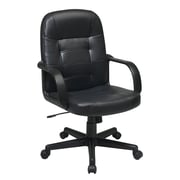 Office Star Work Smart Mid Back Bonded Leather Managers Chair, Black
