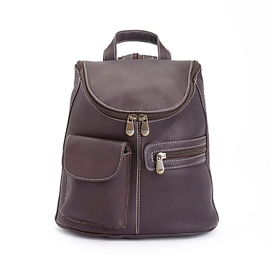 Royce Leather – Sac à dos de luxe tablette/iPad fab. à la main, cuir colombien véritable, café, estampage argenté, 3 initiales