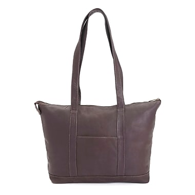 Royce Leather Luxury 24 Hour Women's Travel Tote Bag in Handcrafted Colombian Leather, Cafe, Silver Foil Stamping, Full Name