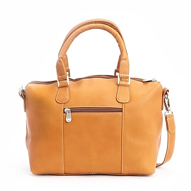 Royce Leather Luxury Travel Weekender Duffel Bag in Handcrafted Colombian Leather, Tan, Gold Foil Stamping, 3 Initials