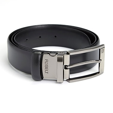 Royce Leather Airport Security Checkpoint Friendly Fly Belt w/Detachable Chrome Buckle, Size 38, Silver Foil Stamping, Full Name