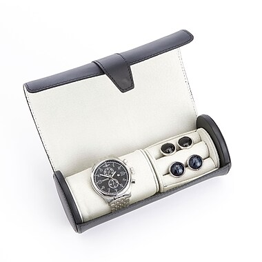 Royce Leather Luxury Leather Travel Watch Roll and Cufflink Storage w/Rich Suede Lining, Silver Foil Stamping, Full Name