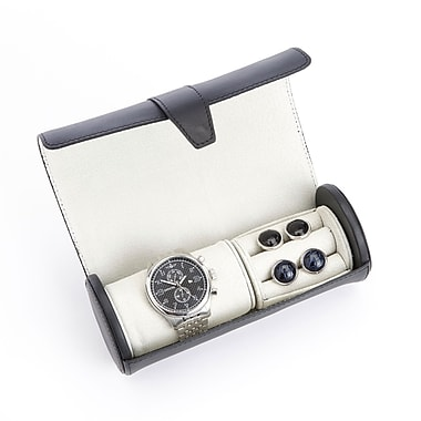 Royce Leather Luxury Leather Travel Watch Roll and Cufflink Storage w/Rich Suede Lining, Gold Foil Stamping, 3 Initials