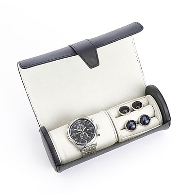 Royce Leather Travel Watch Roll and Cufflink Storage with Rich Suede Lining (932-BLACK-5)