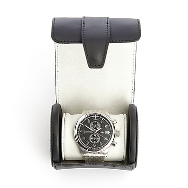 Royce Leather Executive Travel Watch Roll in Smooth Leather w/Suede Interior, Fits 1 Watch, Silver Foil Stamping, 3 Initials