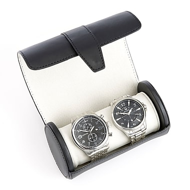 Royce Leather Executive Travel Watch Roll in Smooth Leather w/Suede Interior, Fits 2 Watches, Silver Foil Stamping, Full Name