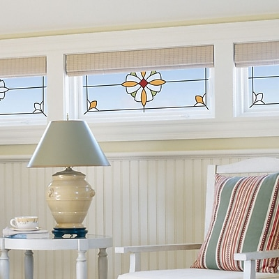 Brewster Home Fashions Essex Stained Glass Appliqu Window Sticker; Amber