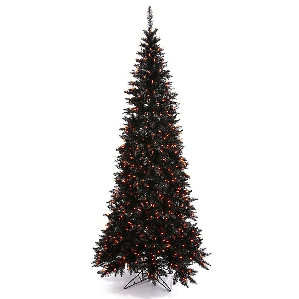 Vickerman 5.5 Black Slim Fir Artificial Christmas Tree with 300 Mini Orange Lights