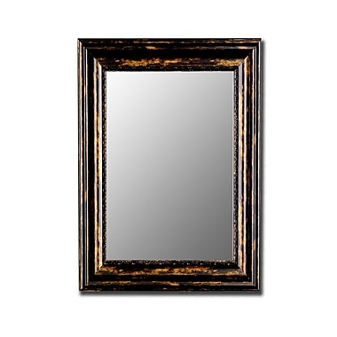Hitchcock Butterfield Company Antique Copper Black Wall Mirror; 18'' H x 36'' W