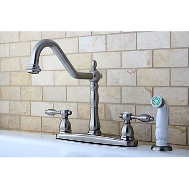 Kingston Brass Tudor Double Handle Kitchen Faucet w/ Side Spray; Satin Nickel