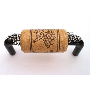 Vine Designs LLC Vineyard 3'' Center Bar Pull; Black/Oak/Silver