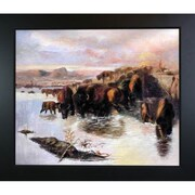 Tori Home The Buffalo Herd by Charles Marion Russell Framed Painting Print