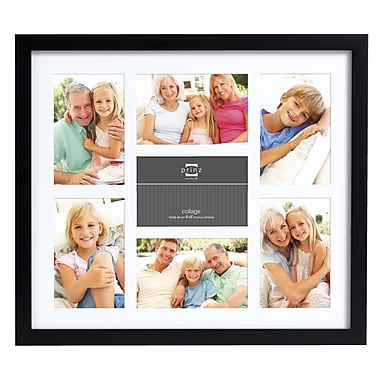 Prinz Seven Opening Gallery Expressions Wood Picture Frame; Black