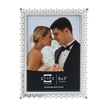 Prinz Elegance Metal w/ Enamel Inlay and Jewels Picture Frame; 5'' x 7''