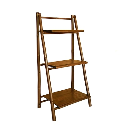ZEW Bamboo 3 Tier Decorative Ladder Bookcase