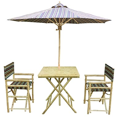 ZEW 4 Piece Dining Set; Indigo