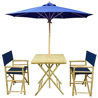 ZEW 4 Piece Dining Set; Navy